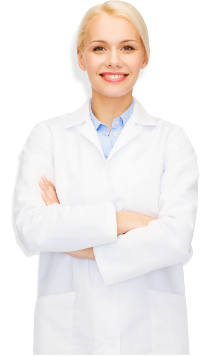 happy young woman pharmacist over drugstore background